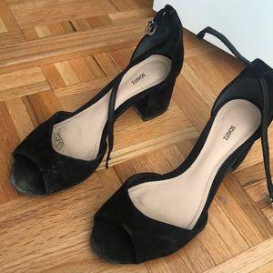 Schutz black suede block heel